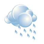 Mostly cloudy, showers around